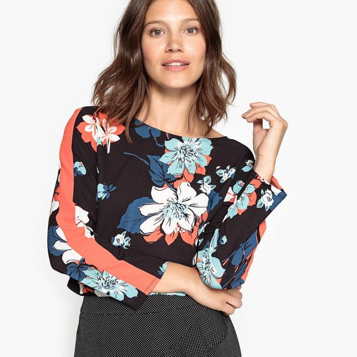 Bluzka z dekoltem w V na plecach, z nadrukiem kwiatów na czarnym tle  La Redoute Collections image 0