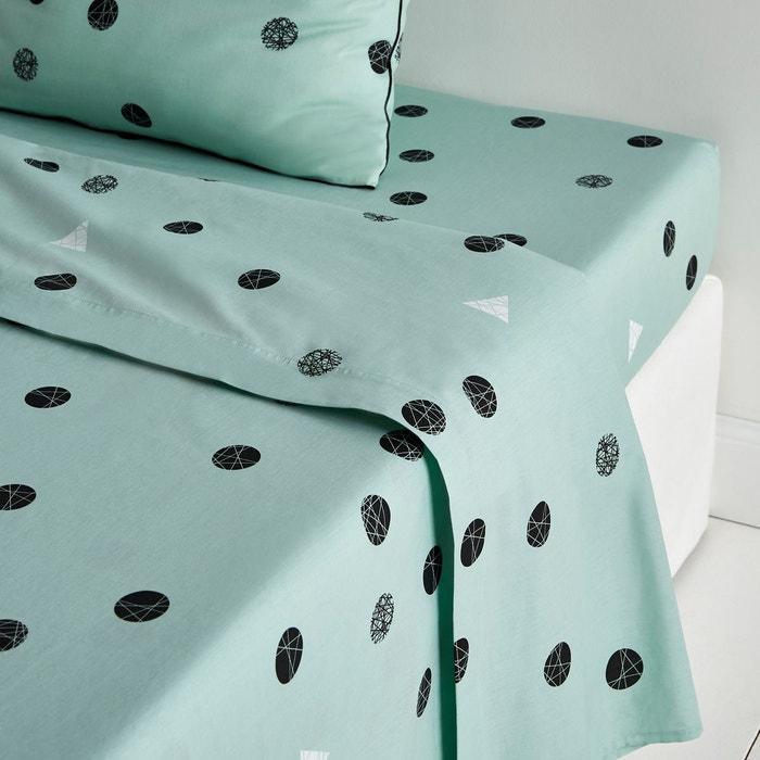drap plat percale bellvik c ladon la redoute interieurs la redoute. Black Bedroom Furniture Sets. Home Design Ideas