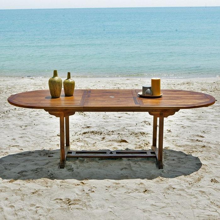 table de jardin en bois de teck avec rallonge 8 10 places teck huil bois dessus bois dessous. Black Bedroom Furniture Sets. Home Design Ideas