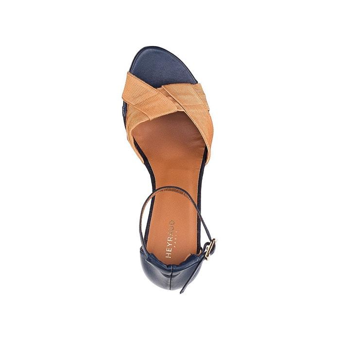 Sandales cuir elia bleu marine/camel Heyraud
