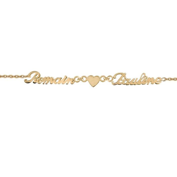 Bracelet longueur réglable: 17 à 18,5 cm maille forçat ciselée anglaise 2 prénoms coeur plaqué or 750 couleur unique So Chic Bijoux | La Redoute