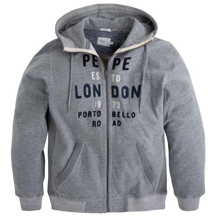 Sweat zippé à capuche gris chiné Pepe Jeans   La Redoute dc816aeeeada