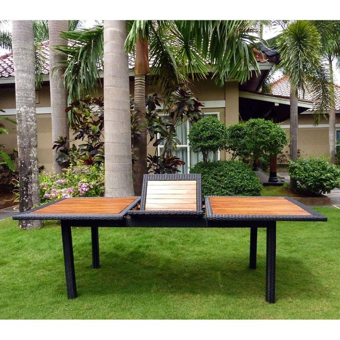 Table de jardin en teck et résine tressée - rectangle à rallonge - 180-240  cm