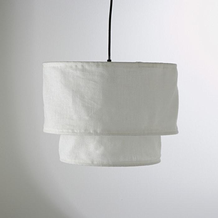 afbeelding Hanglamp THADE met dubbele lampenkap in linnen La Redoute Interieurs