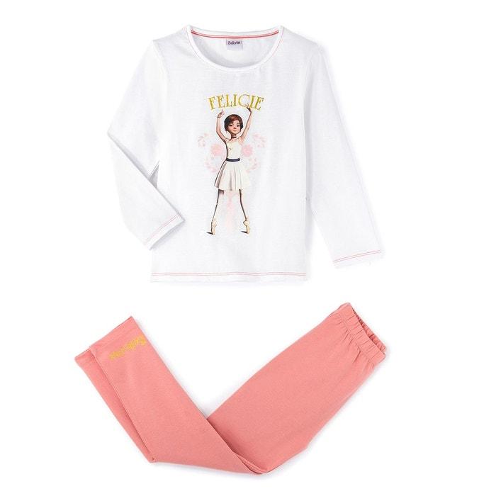 pyjama 2 10 ans blanc rose ballerina la redoute. Black Bedroom Furniture Sets. Home Design Ideas