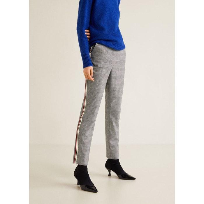 Pantalon carreaux liserés contrastants noir Mango   La Redoute 3209aec88fda