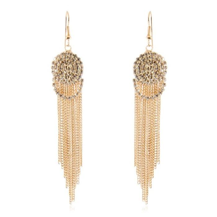 collection de remise prix officiel prix réduit Boucles d'oreilles pendantes dorées serties de strass