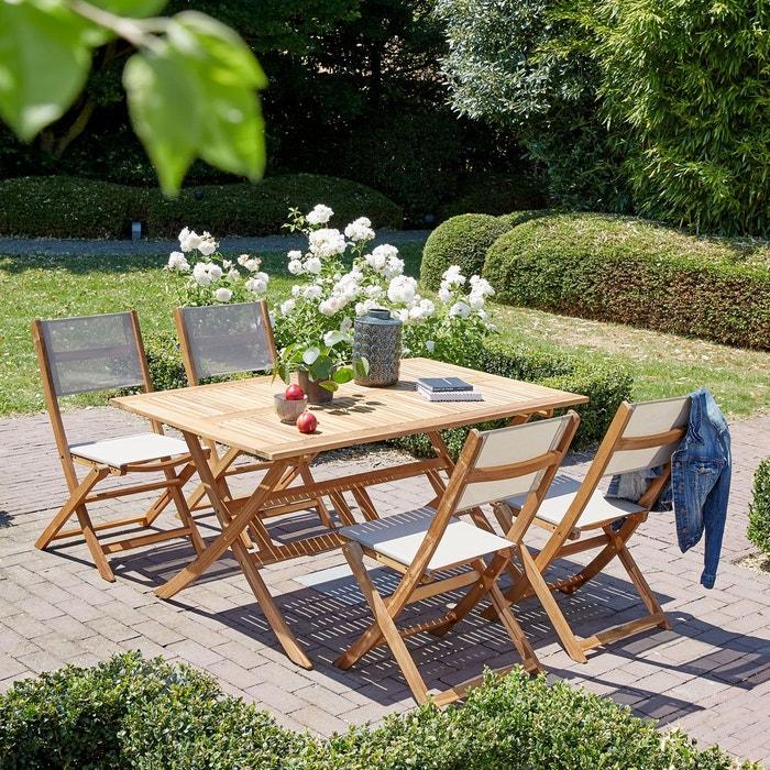 Salon de jardin en bois d 39 acacia 150x90 bois clair bois dessus bois desso - Salon jardin la redoute ...