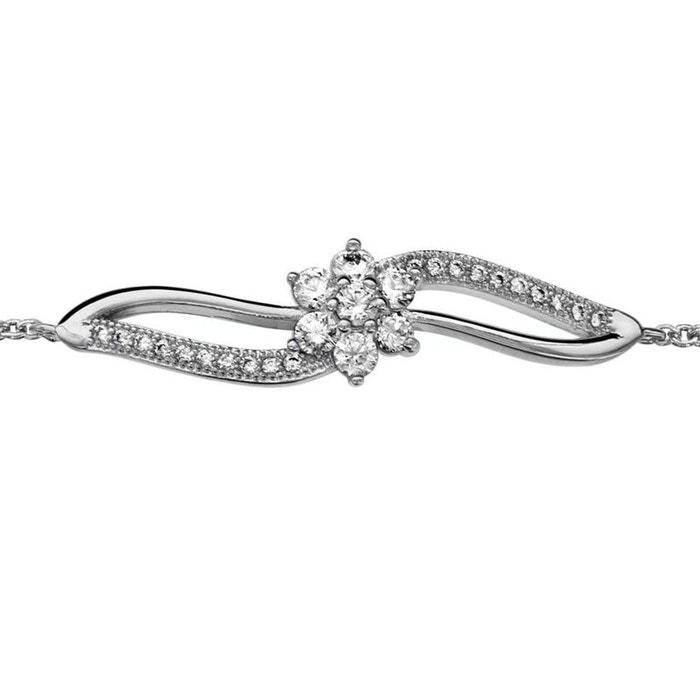 4590e625ac2af Bracelet réglable: 16 à 18 cm fantaisie fleur croisée argent 925 argenté So  Chic Bijoux | La Redoute