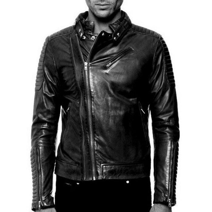 Blouson cuir empiecement effet matelassé noir Arturo   La Redoute 8c2c76e014d