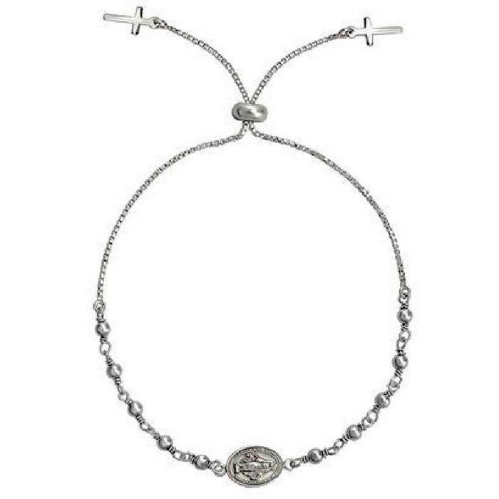 Bracelet boule chaîne coulissant longueur réglable  14 à 24 cm chapelet  croix crucifix christ rhodium 14ae330a72d6