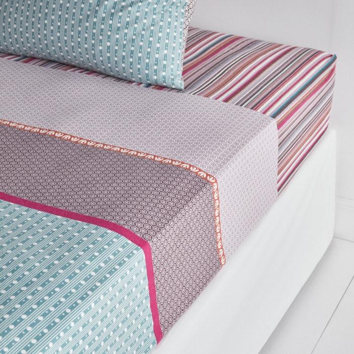 drap housse flanelle imprim e m tismix imprim bleu rose la redoute interieurs la redoute. Black Bedroom Furniture Sets. Home Design Ideas