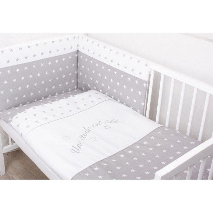 Parure de lit b b avec tour de lit d houssable une toile est n e 3 pi ces gris sevira kids - La redoute lit bebe ...
