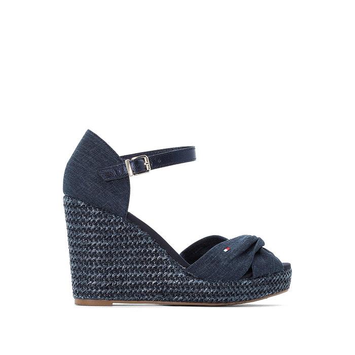 951c7d57b Linen wedge sandals , navy blue, Tommy Hilfiger   La Redoute