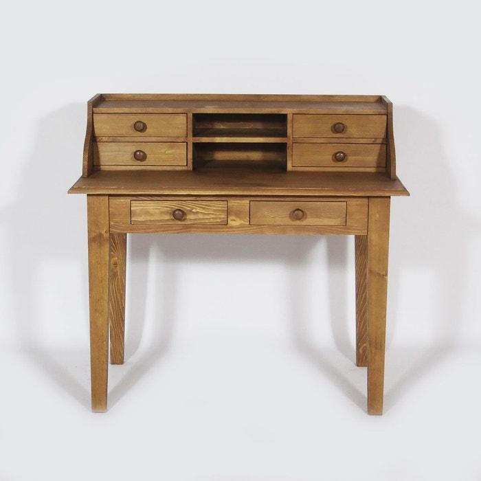 Meuble bureau 6 tiroirs en pin massif n132 made in for Meuble bureau pin