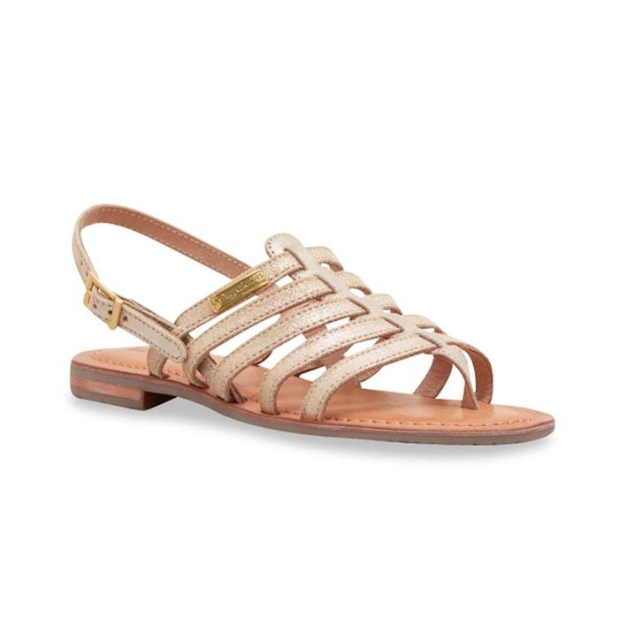 Sandales cuir entre-doigts hariette beige-or Les Tropeziennes Par M Belarbi