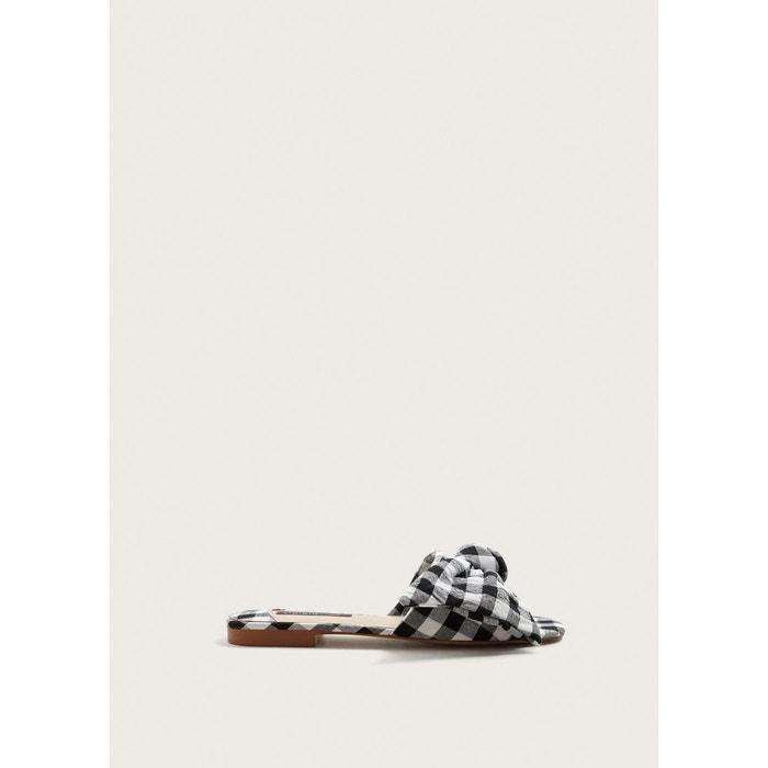 Sandales à carreaux vichy noir Violeta By Mango