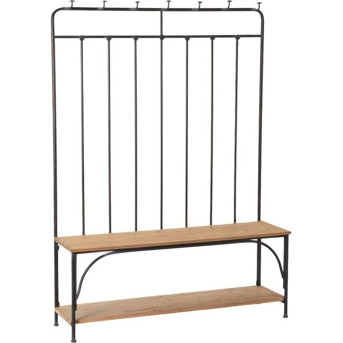 vestiaire d 39 entr e avec bancs m tal et bois noir amadeus la redoute. Black Bedroom Furniture Sets. Home Design Ideas