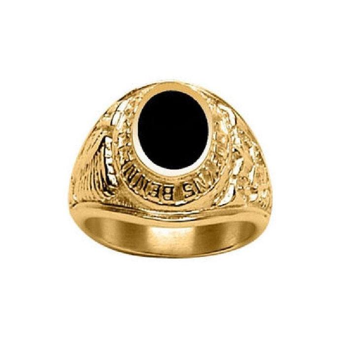 Chevalière bague anneau indien amérique usa ovale onyx noir vermeil (or 750 sur argent 925) couleur unique So Chic Bijoux   La Redoute Parfait Pas Cher En Ligne bLQRt