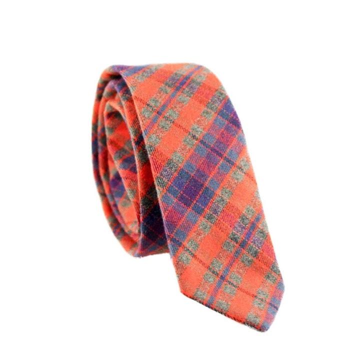 Cravate carreaux coton moderne originale orange Yikes Ties   La Redoute Acheter Un Excellent Pas Cher Acheter Pas Cher Populaire uzH31ie
