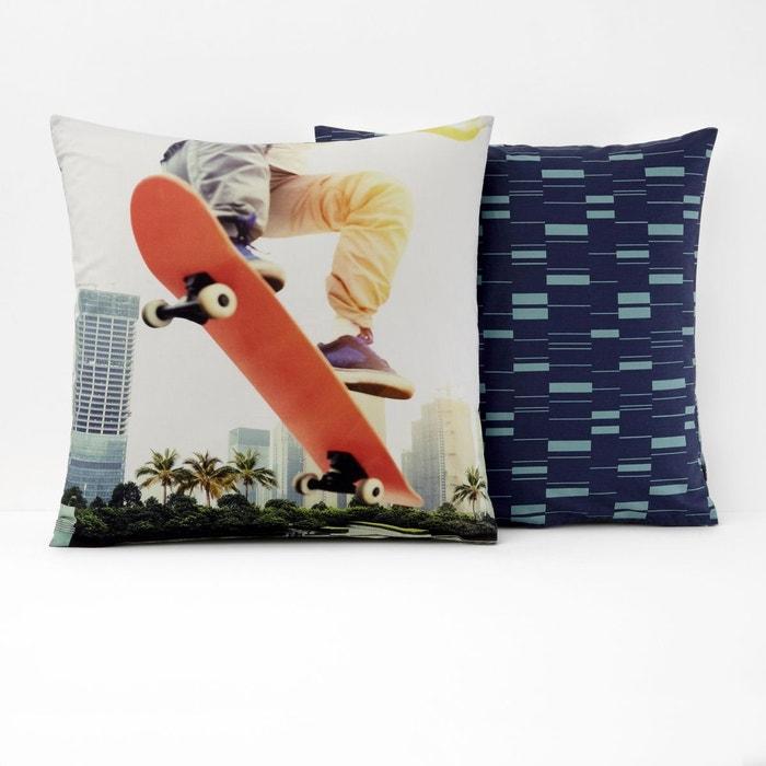 taie d oreiller coton skate blanc multicolore la redoute. Black Bedroom Furniture Sets. Home Design Ideas