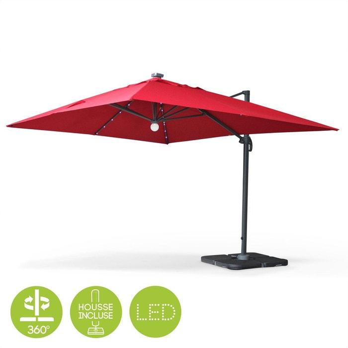 parasol d port solaire led 3x4m luce rouge haut de gamme. Black Bedroom Furniture Sets. Home Design Ideas