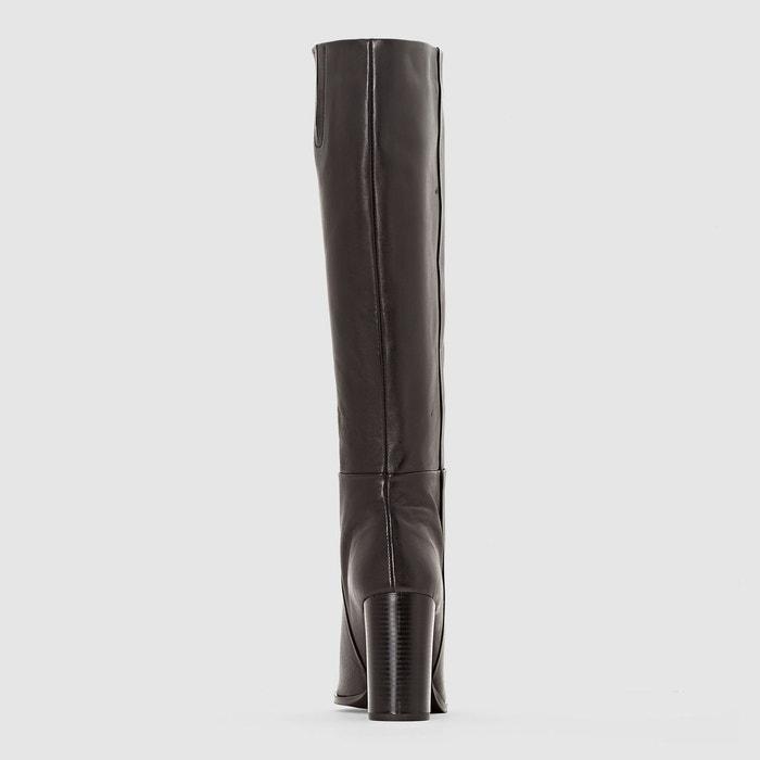 Bottes cuir esprit vintage noir La Redoute Collections