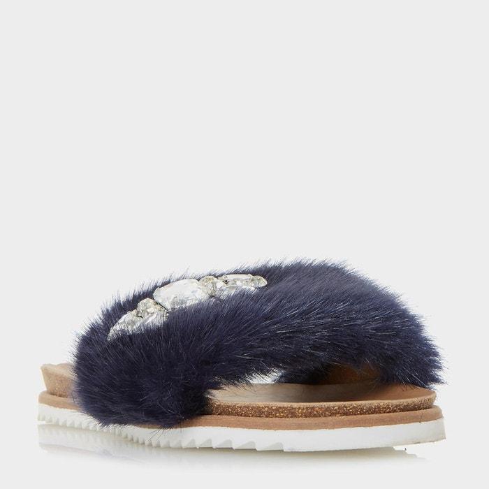 Sandales en fausse fourrure ornées de pierres fantaisie - lyra bleu marine fausse fourrure Dune London