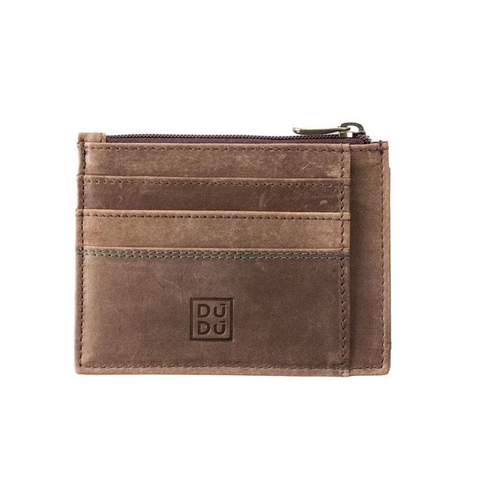 Porte-cartes de crédit porte-monnaie pour homme en cuir vintage vieilli  portefeuille slim avec fermeture zippée Dudu   La Redoute 2d40999b710
