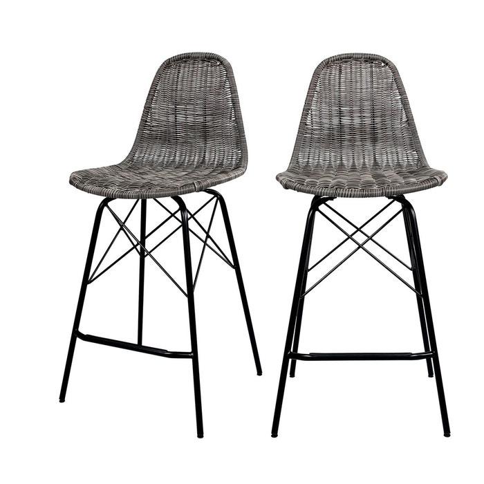 chaise de bar mi hauteur tiptur en resine tressee 63 cm lot de 2