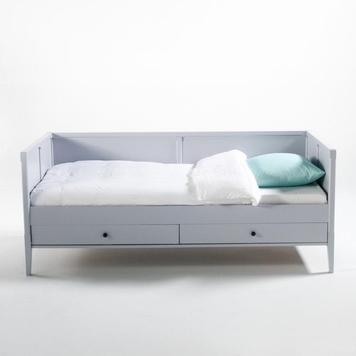 lit banquette avec 2 tiroirs et sommier eug nie la redoute interieurs gris clair la redoute. Black Bedroom Furniture Sets. Home Design Ideas
