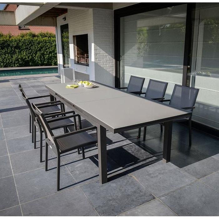 Table extensible en alumminum et verre 220/280 x 100 cm asco gris ...