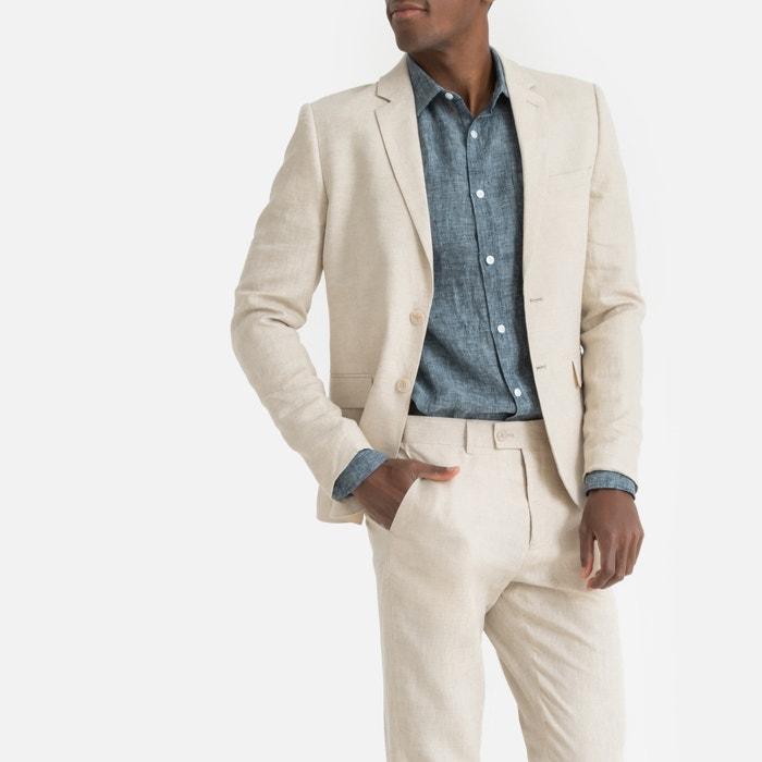 8fa3c01b17e Chaqueta de traje de lino con corte entallado beige La Redoute Collections