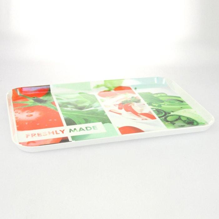 Plateau repas fm m lamin rouge et vert rouge b et w for Plateau melamine cuisine