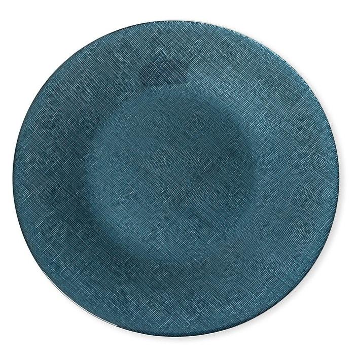 assiette plate en verre bleu 28cm lot de 6 astrid bleu canard bleu fonc bruno evrard la. Black Bedroom Furniture Sets. Home Design Ideas