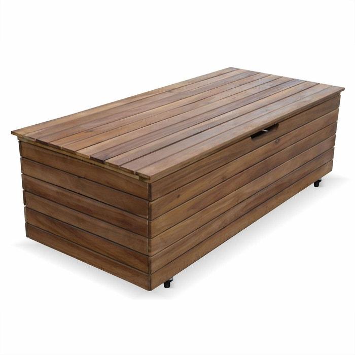 coffre de jardin en bois saragosse 110l rangement coussins 107x485cm avec - Coffre De Jardin