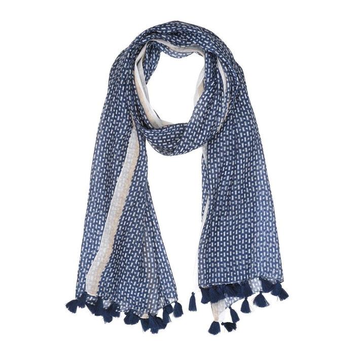 61246dbd16f6 Foulard coton graphique pompons bleu marine Tie Rack