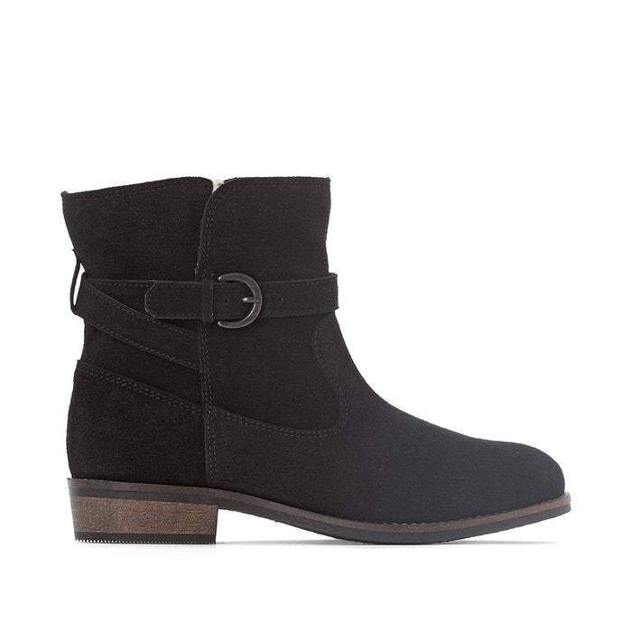 Boots fourrées cuir   noir La Redoute Collections   La Redoute