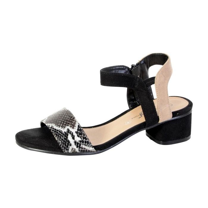 sandale petit talon noir noir the divine factory la redoute. Black Bedroom Furniture Sets. Home Design Ideas