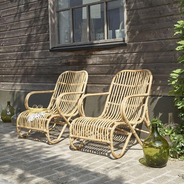 Lot de 2 fauteuils de jardin en rotin relax bois clair bois dessus bois dessous la redoute for Fauteuil salon de jardin la redoute