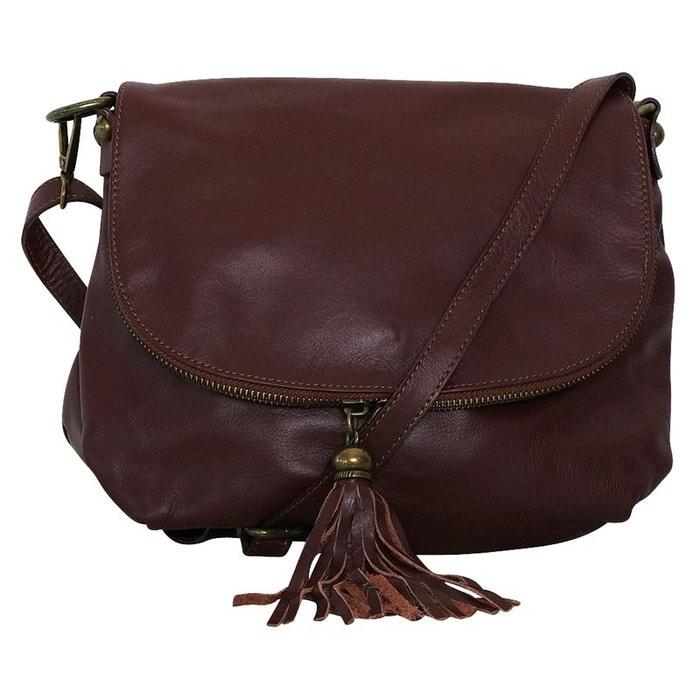 753730d8b9 Sac à main besace cuir marron marron Chapeau-Tendance   La Redoute
