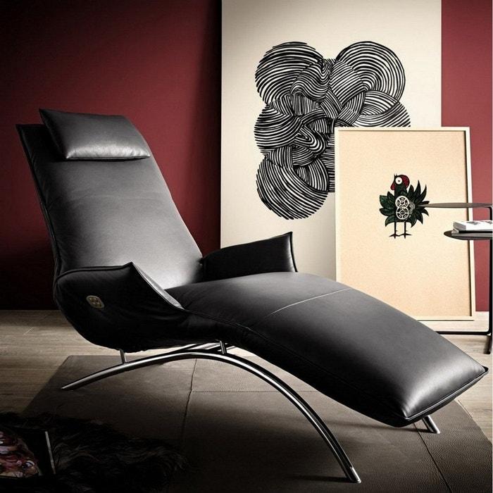 De Longue Madame Batterie Day Cuir Sur Noir Relaxation Chaise Lounge PZOkiuX