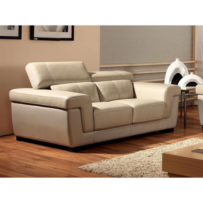 canap cuir 2 places evasion beige la maison du canape. Black Bedroom Furniture Sets. Home Design Ideas