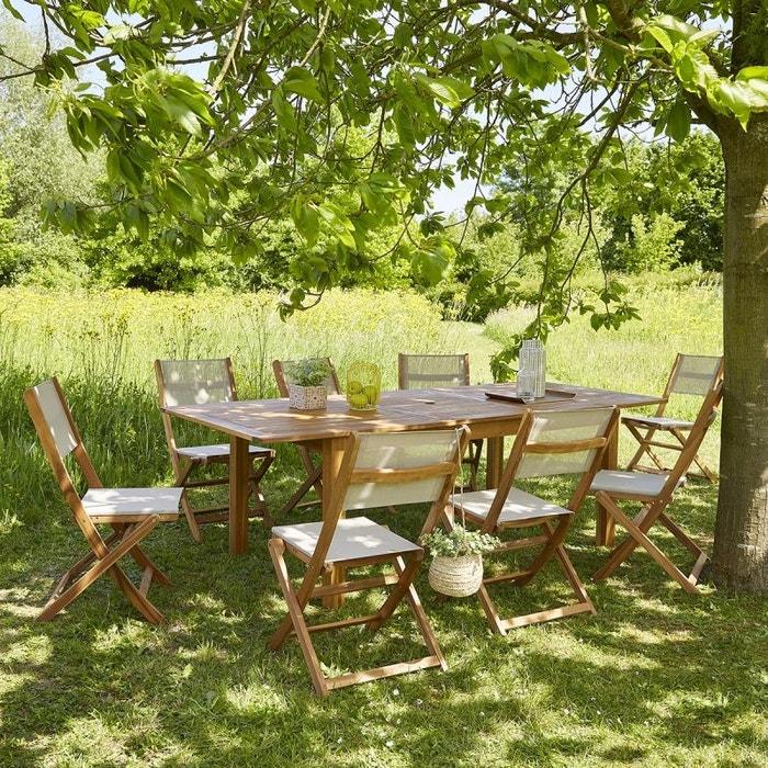 Salon de jardin en bois d\'acacia FSC extensible 8 à 10 places