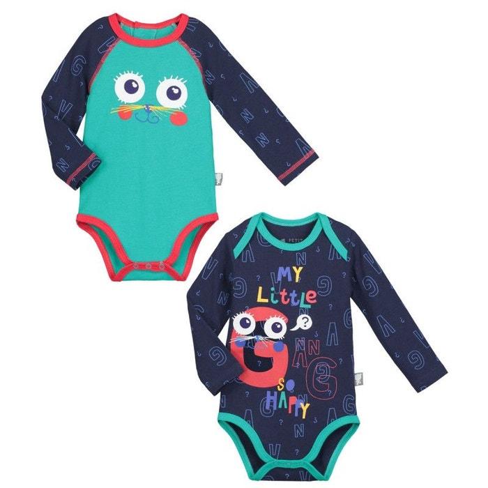 Lot de 2 bodies manches longues bébé garçon gang multicolore Petit Beguin  3dcfb654602