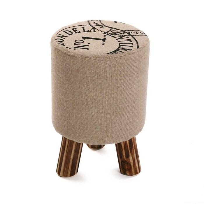 tabouret pouf rond vintage en tissu toile de jute imprim e et pieds bois d30x45cm beige pier. Black Bedroom Furniture Sets. Home Design Ideas