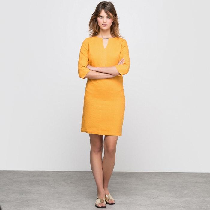 Vestido direito, mangas 3/4, em linho R essentiel