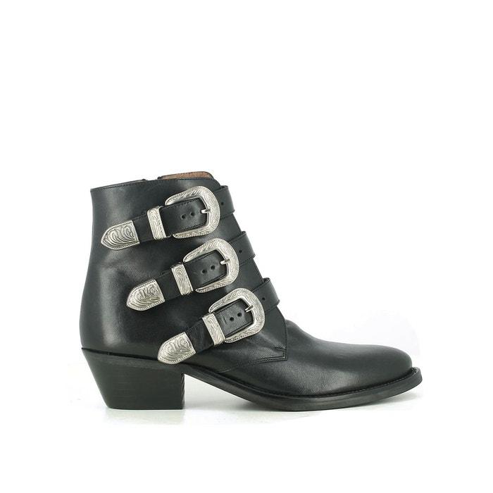 c36ec766d19 Boots cuir style santiag dyza noir Jonak