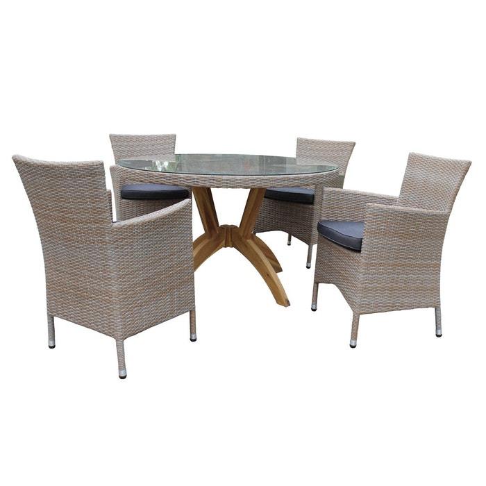 table et chaises de jardin vanda en r sine beige gris. Black Bedroom Furniture Sets. Home Design Ideas