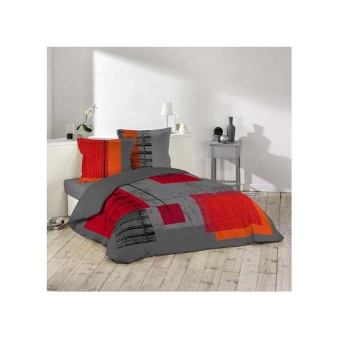 Parure de lit 2 personnes quadro gris rouge douceur d - Parure de lit om 2 personnes ...